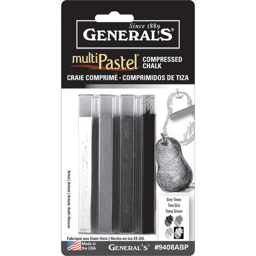 MultiPastel Compressed Chalk Sticks 4/Pkg-Gray Tones -9408ABP - 044974940849