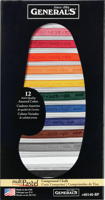 MultiPastel Compressed Chalk Sticks 12/Pkg-Assorted Colors -40140-BP - 044974401401