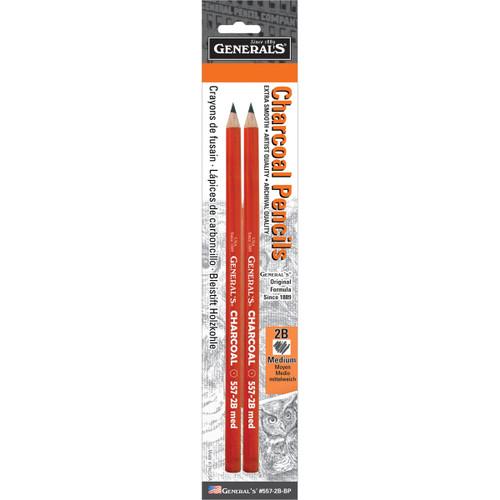Charcoal Pencils 2/Pkg-2B -557-2B - 044974055727