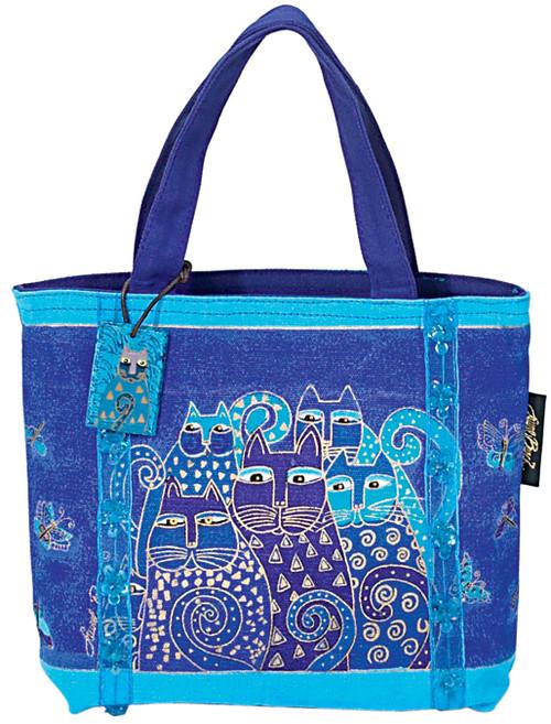 """Laurel Burch Mini Bag 11""""X3""""X8""""-Indigo Cats -LB415 - 651462020756"""