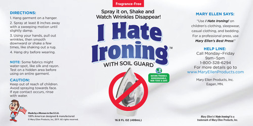 Mary Ellen's I Hate Ironing! Spray Wrinkle Remover 16oz-60036