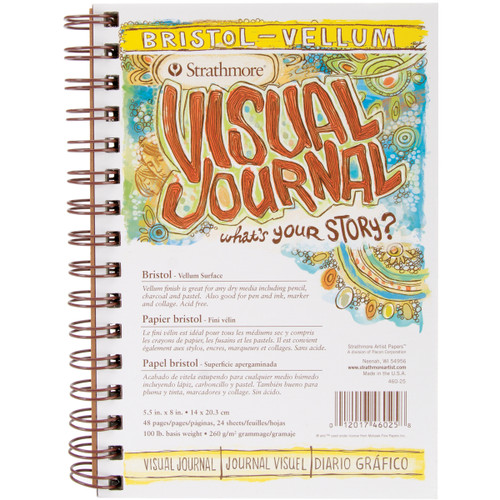 "Strathmore Visual Journal Bristol Vellum 5.5""X8""-24 Sheets -460250 - 012017460258"