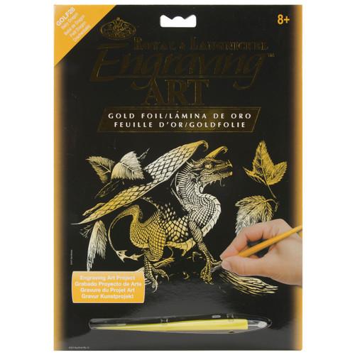 """Gold Foil Engraving Art Kit 8""""X10""""-Baby Dragon -GOLDFL-28 - 090672066886"""