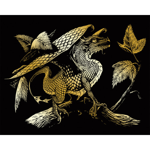 """Gold Foil Engraving Art Kit 8""""X10""""-Baby Dragon -GOLDFL-28"""