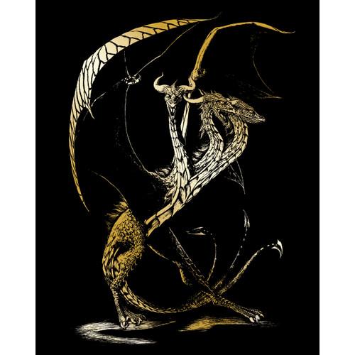 "Gold Foil Engraving Art Kit 8""X10""-3 Headed Dragon -GOLDFL-26"