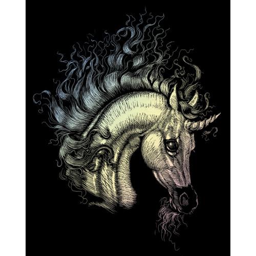 """Holographic Foil Engraving Art Kit 8""""X10""""-Arabian Unicorn -HOLOFL-22"""