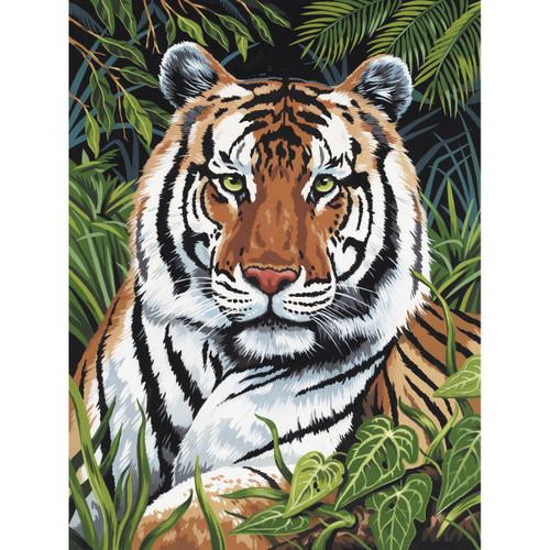 """Junior Small Paint By Number Kit 8.75""""X11.75""""-Tiger In Hiding -PJS-75 - 090672077226"""
