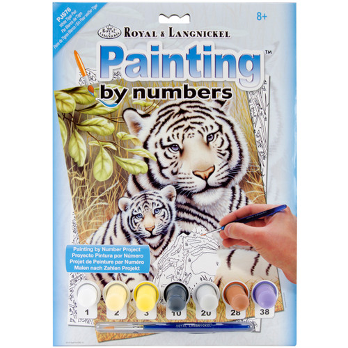 """Junior Small Paint By Number Kit 8.75""""X11.75""""-White Tiger Pair -PJS-76 - 090672077233"""