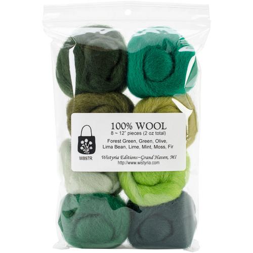 """Wistyria Editions Wool Roving 12"""" .25oz 8/Pkg-Jungle -WR-W897R - 816463010018"""