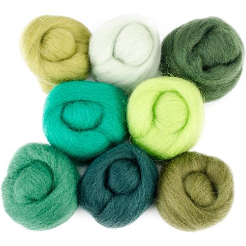 """Wistyria Editions Wool Roving 12"""" .25oz 8/Pkg-Jungle -WR-W897R"""