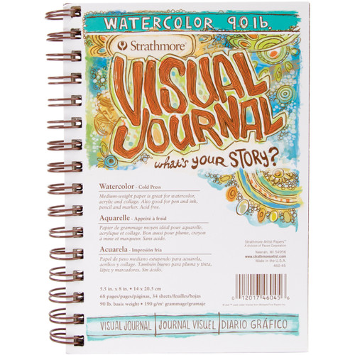 """Strathmore Visual Journal Watercolor 5.5""""X8""""-34 Sheets -460450 - 012017460456"""