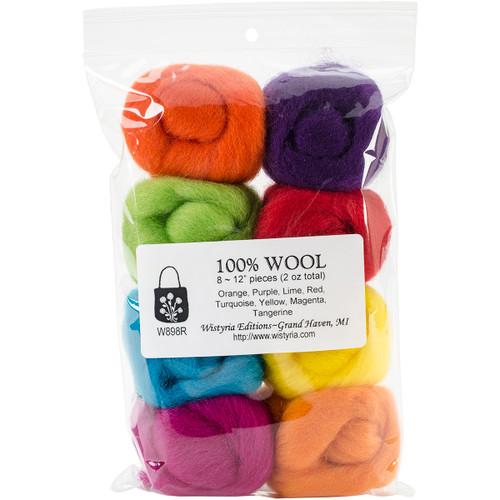 """Wistyria Editions Wool Roving 12"""" .25oz 8/Pkg-Fiesta -WR-W898R - 816463010001"""