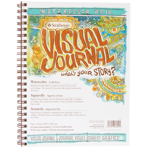 """Strathmore Visual Journal Watercolor 9""""X12""""-34 Sheets -460490 - 012017460494"""