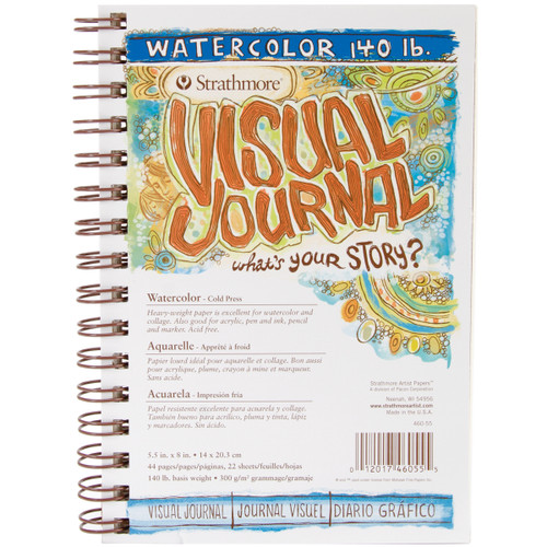 """Strathmore Visual Journal Watercolor 5.5""""X8""""-22 Sheets -460550 - 012017460555"""