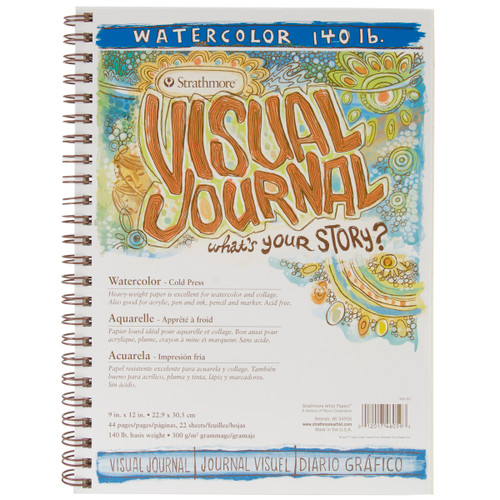 """Strathmore Visual Journal Watercolor 9""""X12""""-22 Sheets -460590 - 012017460593"""