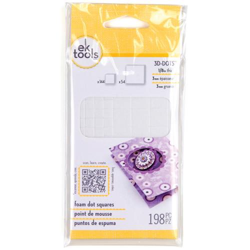 """3D Dots Foam Dot Adhesive -White Squares .125"""" Thick 198/Pkg -E5501042 - 015586945089"""