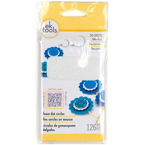 "3D Dots Foam Dot Adhesive-White Circles .125"" Thick 126/Pkg -E5501046 - 015586945072"
