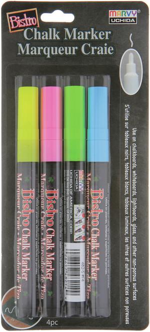 Bistro Chalk Marker Fine Point Set 4/Pkg-Fluorescent Pink, Blue, Green & Yellow -482-4A - 028617482620