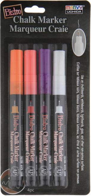 Bistro Chalk Marker Fine Point Set 4/Pkg-Fluorescent Violet, Orange, Red & White -482-4H - 028617482668