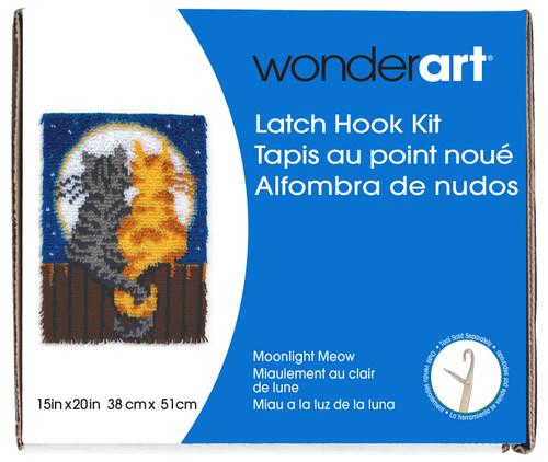 "Wonderart Latch Hook Kit 15""X20""-Moonlight Meow -426122 - 057355369092"