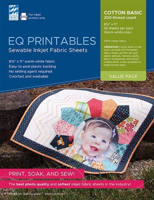 "EQ Inkjet Printable Cotton Basic Fabric Sheets 8.5""X11""-25/Pkg -P-FAC25 - 657920111554"