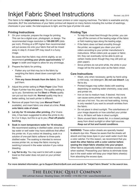 "EQ Inkjet Printable Cotton Basic Fabric Sheets 8.5""X11""-6/Pkg -P-FABRC"