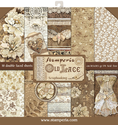"""Stamperia Double-Sided Paper Pad 12""""X12"""" 10/Pkg-Old Lace, 10 Designs/1 Each -SBBL32 - 8024273992000"""