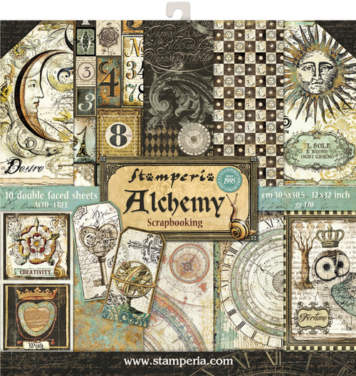 """Stamperia Double-Sided Paper Pad 12""""X12"""" 10/Pkg-Alchemy, 10 Designs/1 Each -SBBL34 - 8024273992024"""