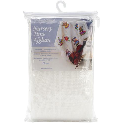 "Charles Craft Nursery Time Afghan 14 Count 38""X38""-Antique White -AF7300-0322 - 078243060709"