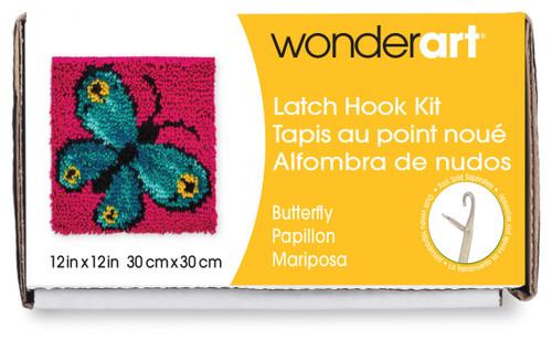 """Wonderart Latch Hook Kit 12""""X12""""-Butterfly -426133C - 057355369207"""