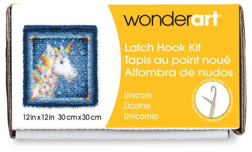 """Wonderart Latch Hook Kit 12""""X12""""-Unicorn -426135 - 057355369221"""