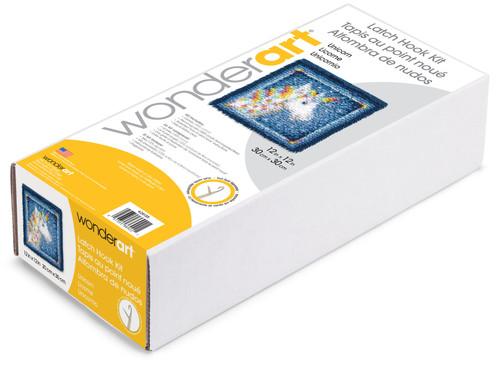 """Wonderart Latch Hook Kit 12""""X12""""-Unicorn -426135"""