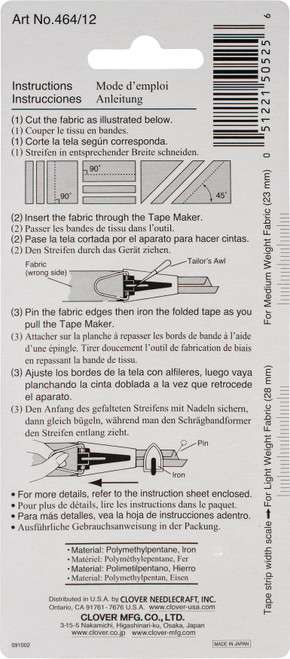 "Clover Bias Tape Maker-1/2"" -464-12"