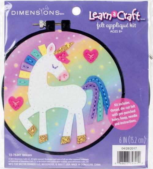 "Dimensions Learn-A-Craft Felt Applique Kit 6"" Round-Unicorn -72-75341 - 088677753412"