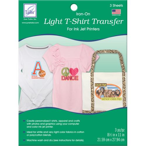 "June Tailor Iron-On Ink Jet Transfer Sheets 8.5""X11"" 3/Pkg-Light T-Shirt -JT856 - 730976085601"