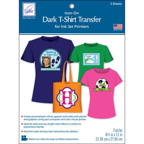 "June Tailor Iron-On Ink Jet Transfer Sheets 8.5""X11"" 3/Pkg-Dark T-Shirt -JT855 - 730976085502"