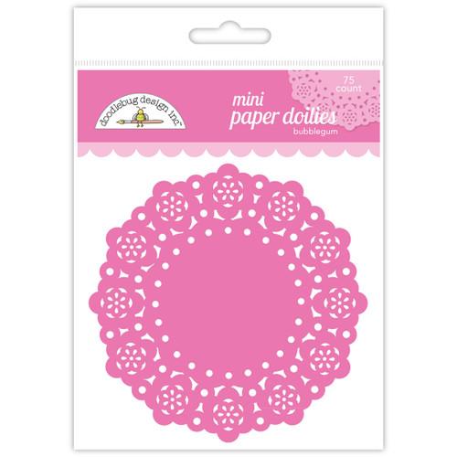 """Doodlebug Mini Doilies 3"""" 75/Pkg-Bubblegum -DDM-4597"""