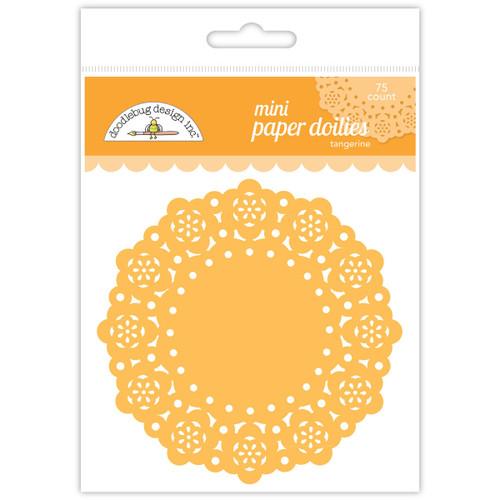 """Doodlebug Mini Doilies 3"""" 75/Pkg-Tangerine -DDM-4599"""