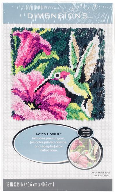 """Dimensions Latch Hook Kit 16""""X16""""-Hummingbird -72-74869 - 088677748692"""