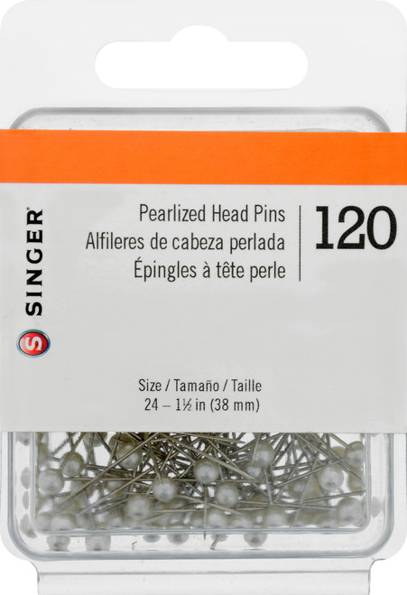 Singer Pearlized Straight Pins-Size 24 120/Pkg -07051 - 075691070519
