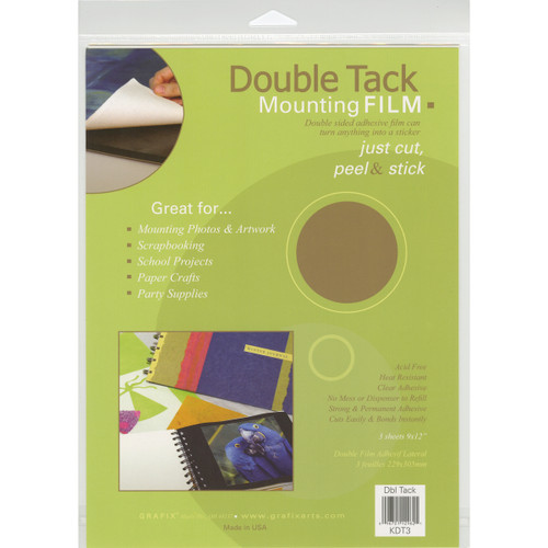 """Double Tack Mounting Film-9""""X12"""" 3/Pkg -KDT3 - 096701129621"""