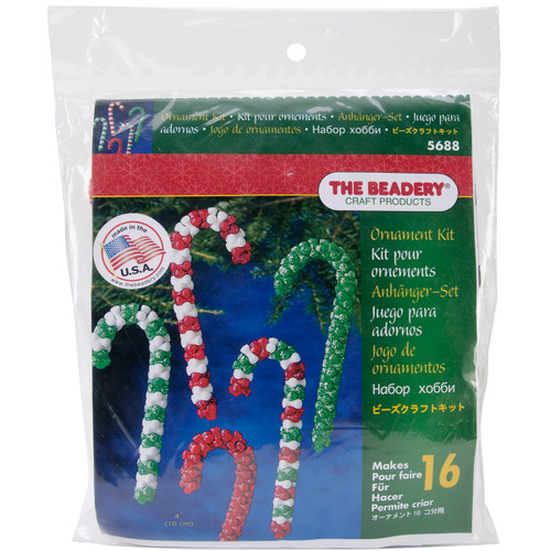 Holiday Beaded Ornament Kit-Candy Cane Assortment Makes 16 -BOK-5688 - 045155892667