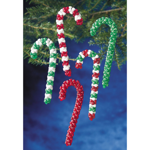 Holiday Beaded Ornament Kit-Candy Cane Assortment Makes 16 -BOK-5688