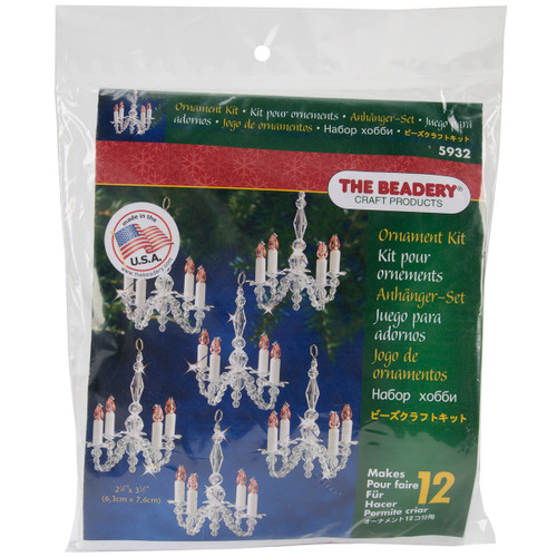 Holiday Beaded Ornament Kit-Christmas Chandeliers Makes 12 -BOK-5932 - 045155917452