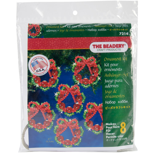 """Holiday Beaded Ornament Kit-Cranberry Wreaths 2.25"""" Makes 8 -BOK-7214 - 045155921701"""