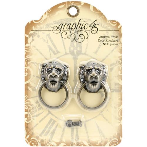 """Graphic 45 Staples Door Knockers 2/Pkg-Antique Brass 2""""X1.2""""X.6"""" -G4501028 - 818695014253"""