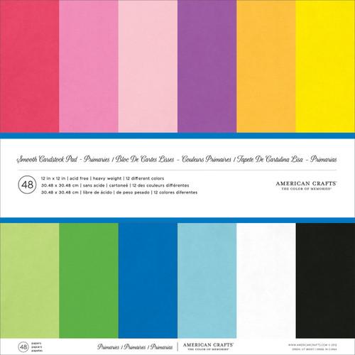 "American Crafts Smooth Cardstock Pack 80lb 12""X12"" 48/Pkg-Primaries -AM71824 - 718813718240"