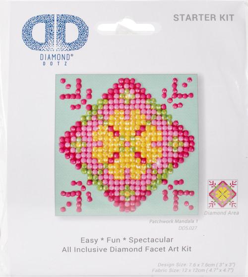 "Diamond Dotz Square Diamond Art Kit 3""X3""-Patchwork Mandala 1 -DDS027 - 4897073242125"