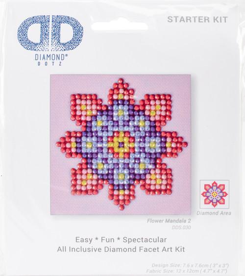 "Diamond Dotz Square Diamond Art Kit 3""X3""-Flower Mandala 2 -DDS030 - 4897073242156"