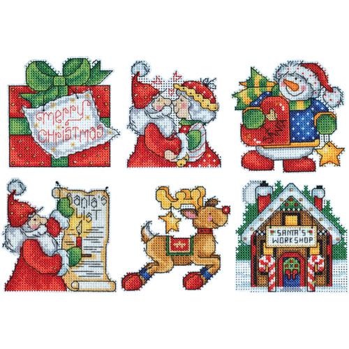 "Design Works Platics Canvas Ornament Kit 3""X4"" Set Of 6-Santa's Workshop (14 Count) -DW1692 - 021465016924"